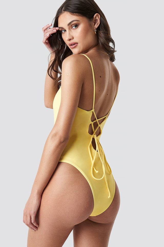 Lacing Open Back Swimsuit Yellow