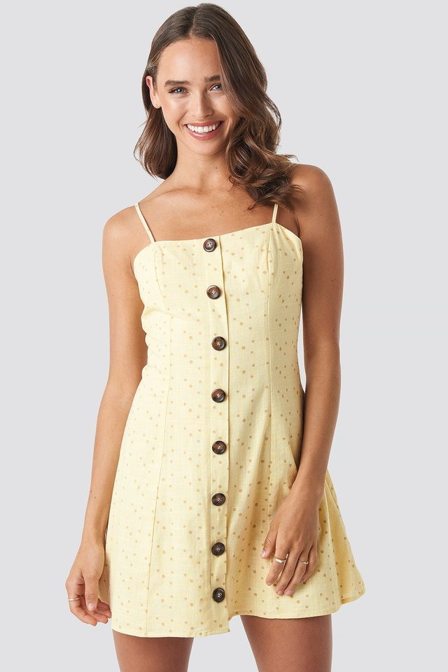 Button Down Mini Dress Yellow