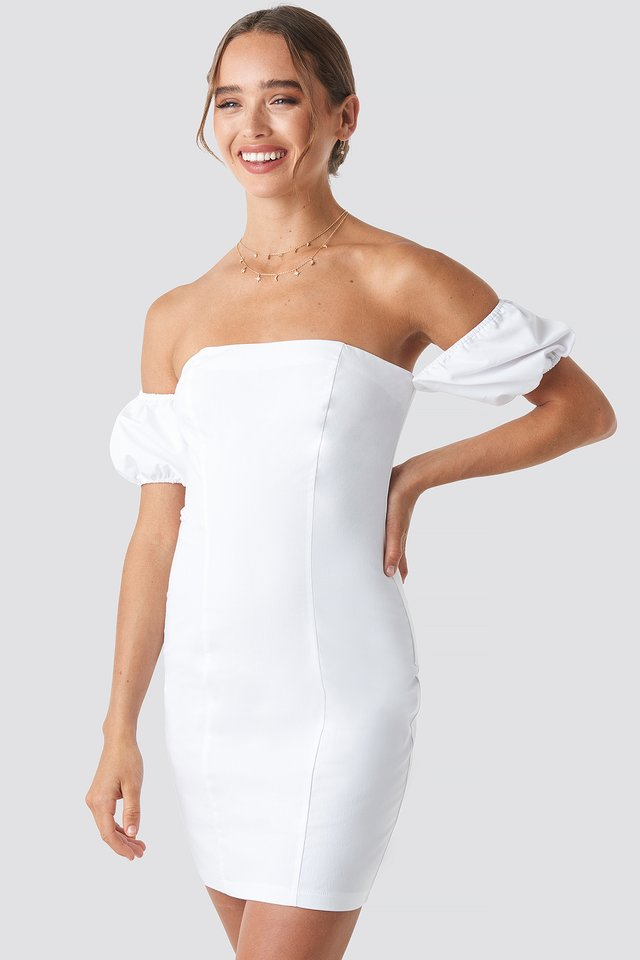Off Balloon Shoulder Mini Dress White