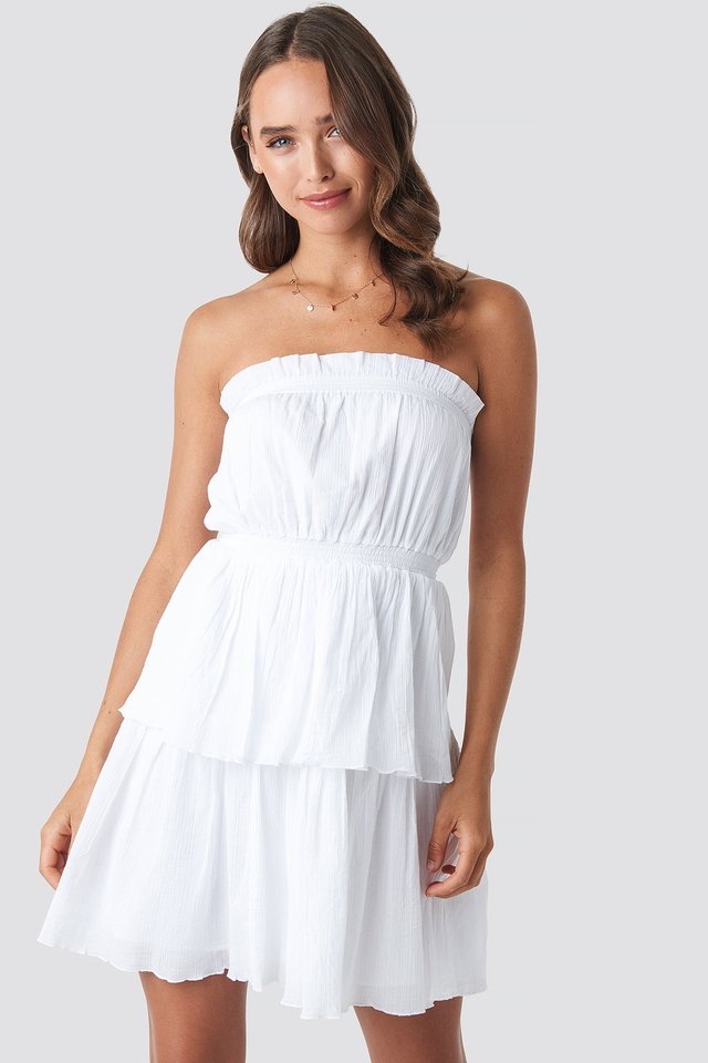 Strapless Mini Dress White