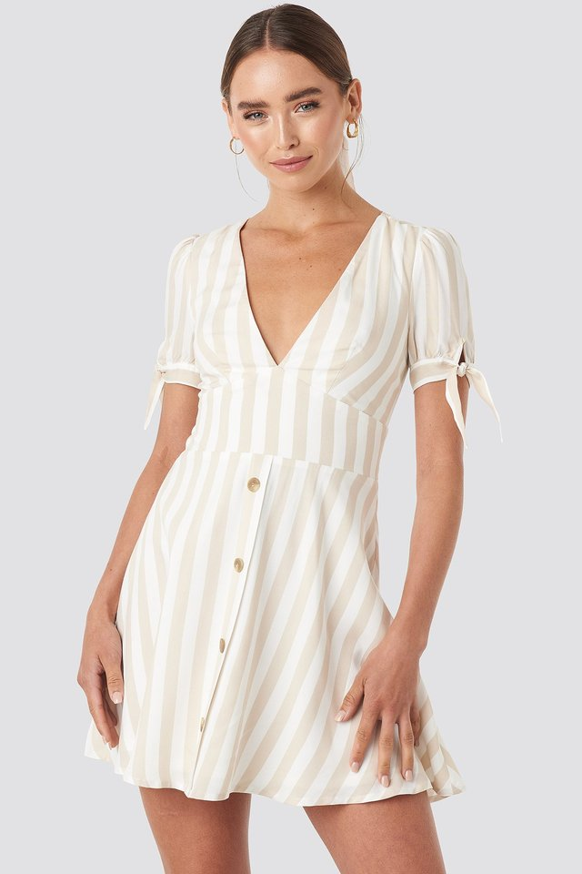 Button detail mini dress Beige/White Stripe