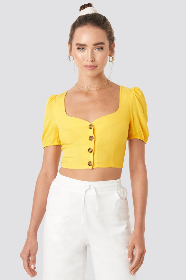 Wide Neck Buttoned Top Yellow