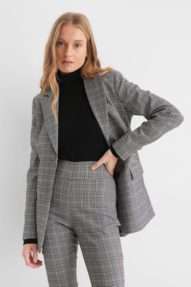 Grey Big Check Check Blazer