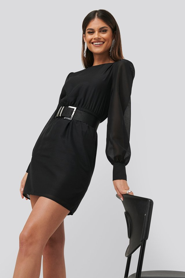 Belted Puff Sleeve Dress Black