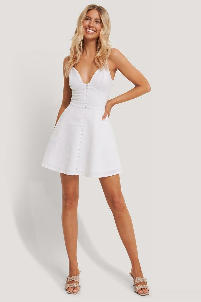 White Miniklänning Med Knappar