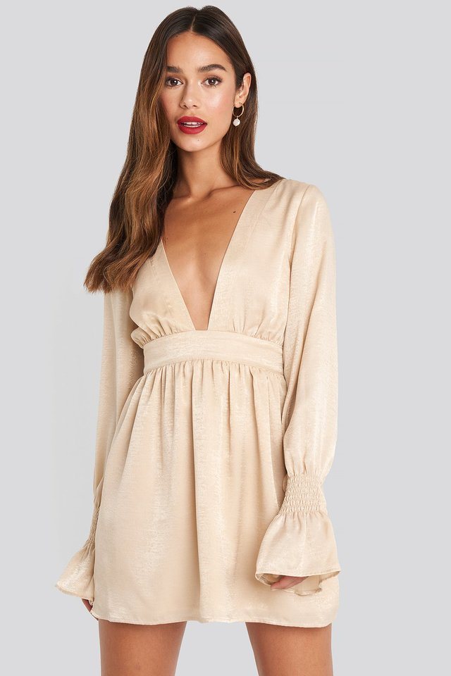 Deep Front Mini Dress Beige