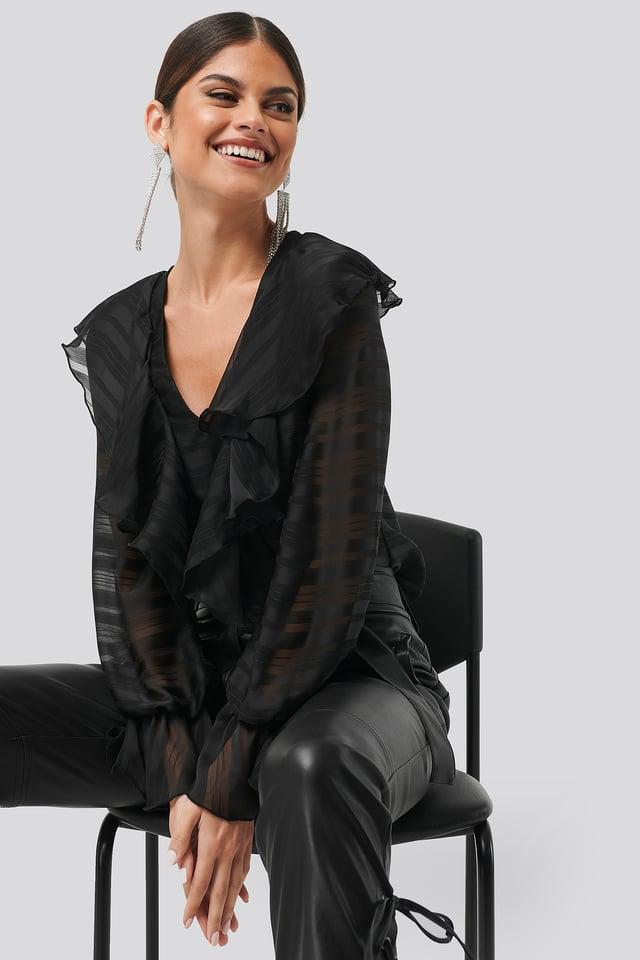 Flounce Front Blouse Black