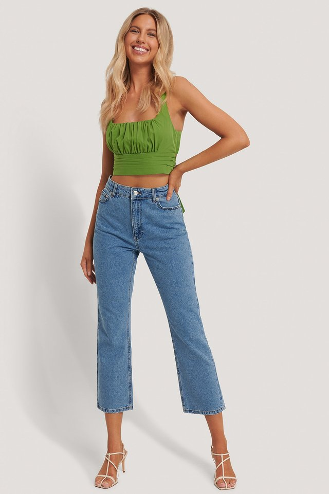 Blue High Waist Straight Leg Jeans