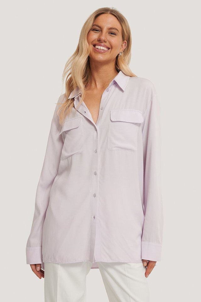 Oversize Skjorta Med Fickor Fram Purple