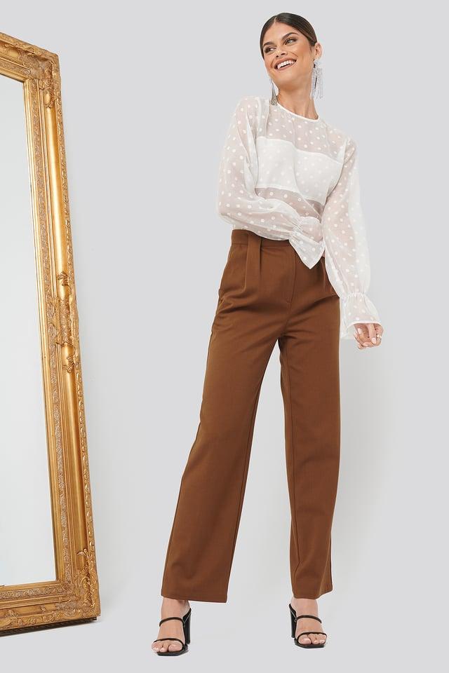 Pleat Front Pants Brown