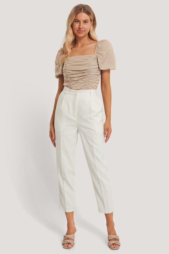 Pleat Suit Pants White