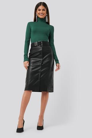 Black PU Button Midi Skirt