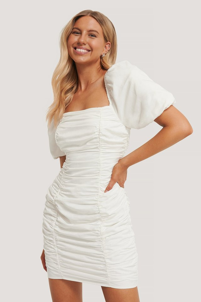 Puff Sleeve Gathered Mini Dress White