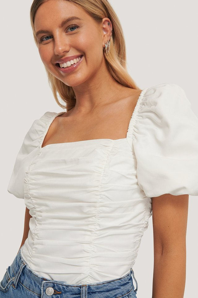 Puff Sleeve Gathered Top White