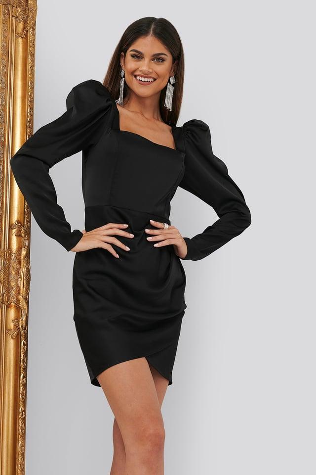 Square Neck Puff Sleeve Dress Black