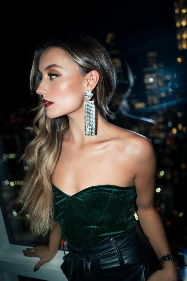 Velvet Bustier Emerald Green