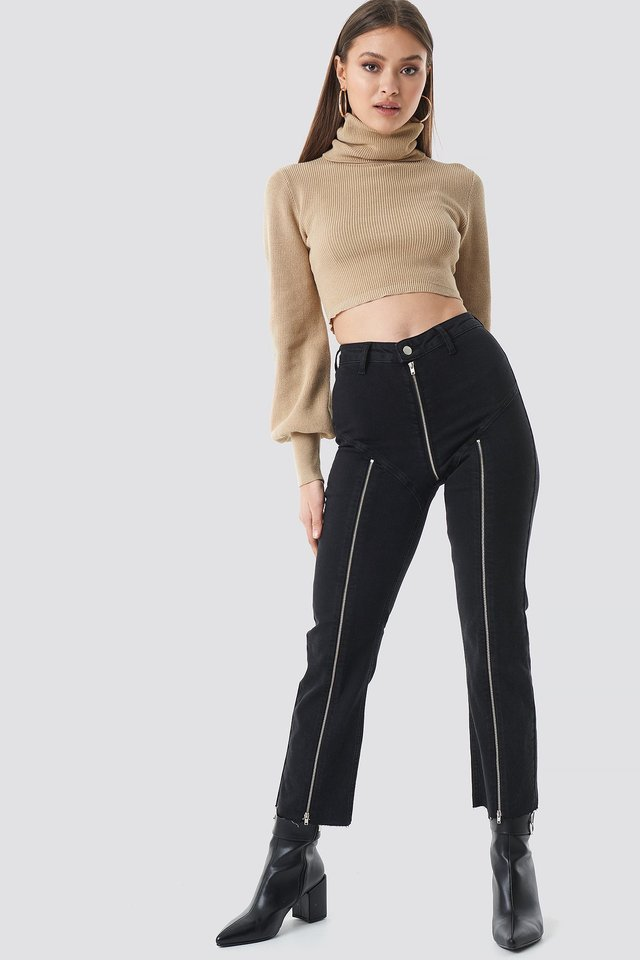 Cropped Zipper Jeans Black