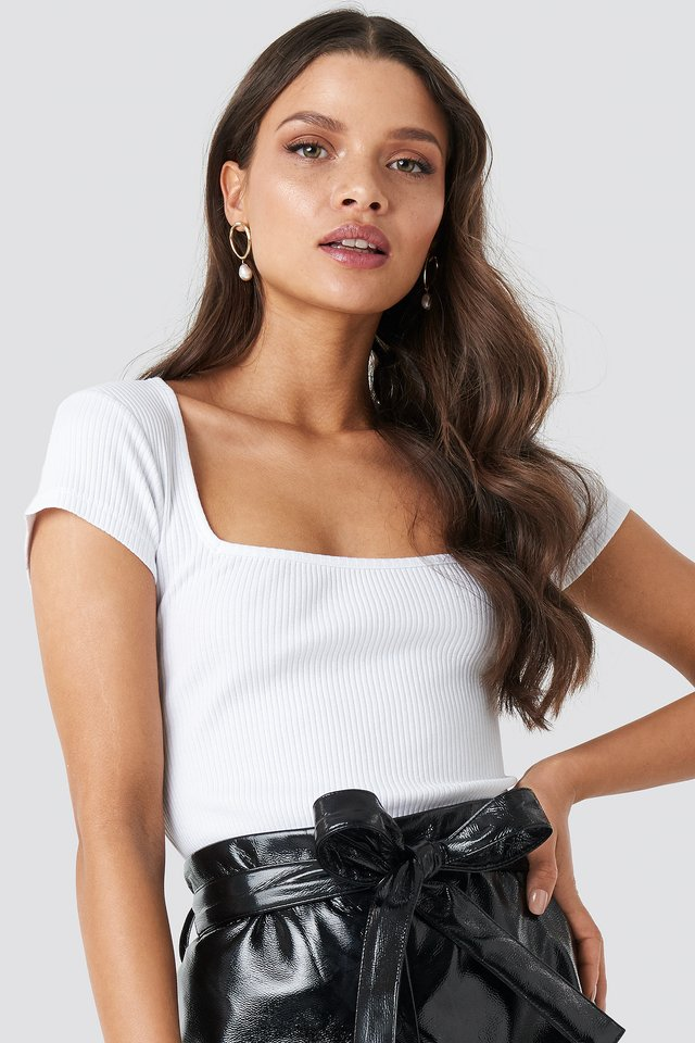 Ribbed Squared Top White