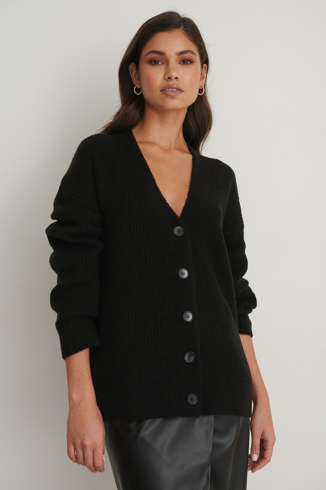 Chunky Knitted Cardigan Black
