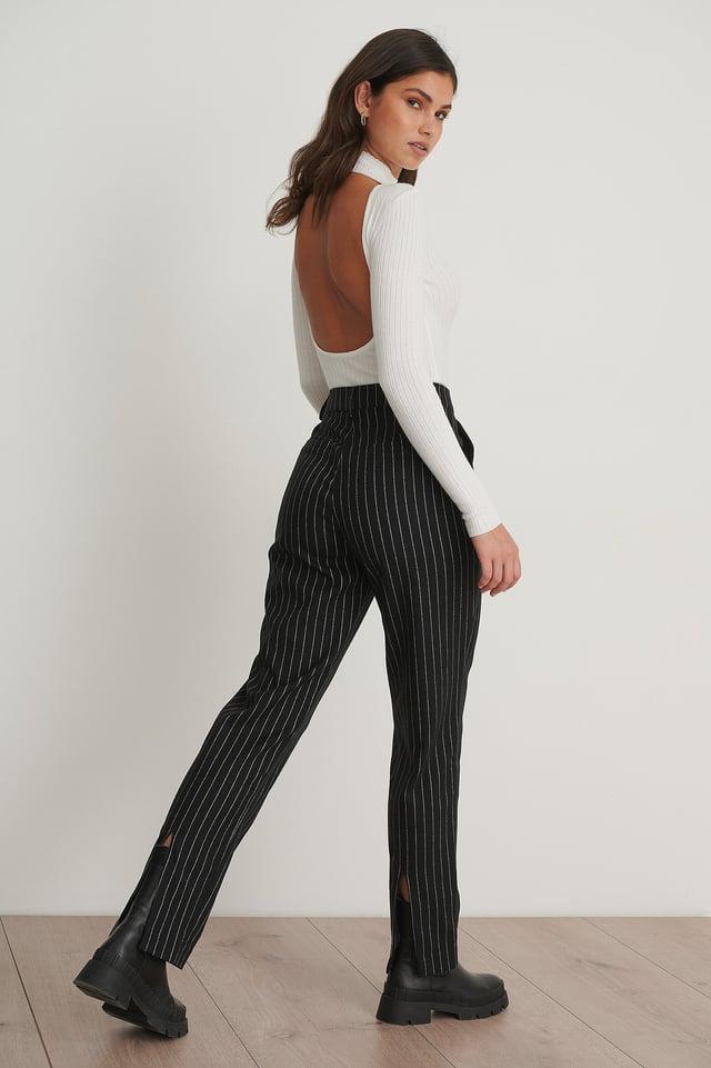 Pinstriped Back Slit Suit Pants Black