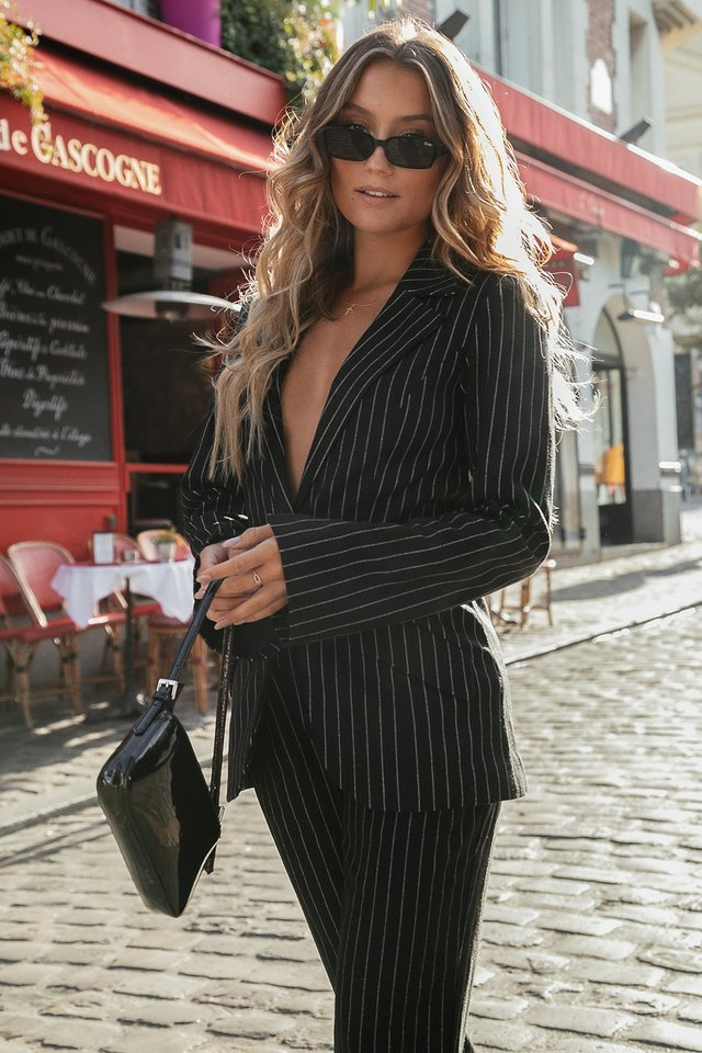 Pinstriped Blazer Black