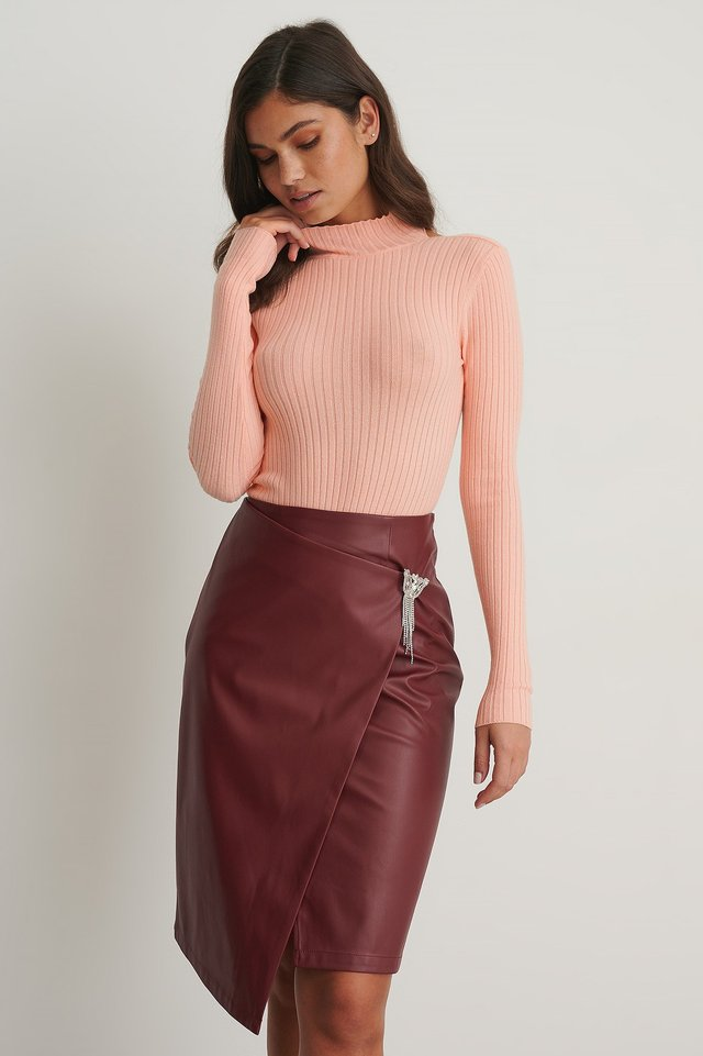 PU Brooch Skirt Dark Red