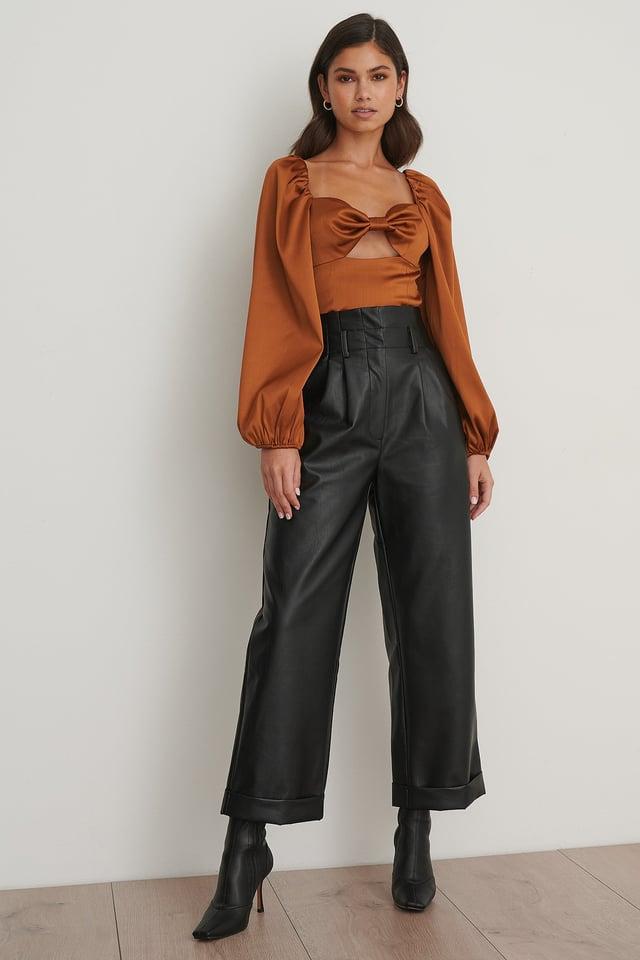 Pu Pleated Pants Black