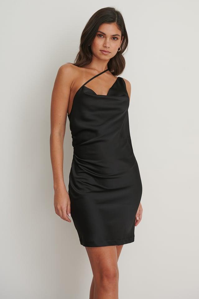 Side Straps Waterfall Dress Black