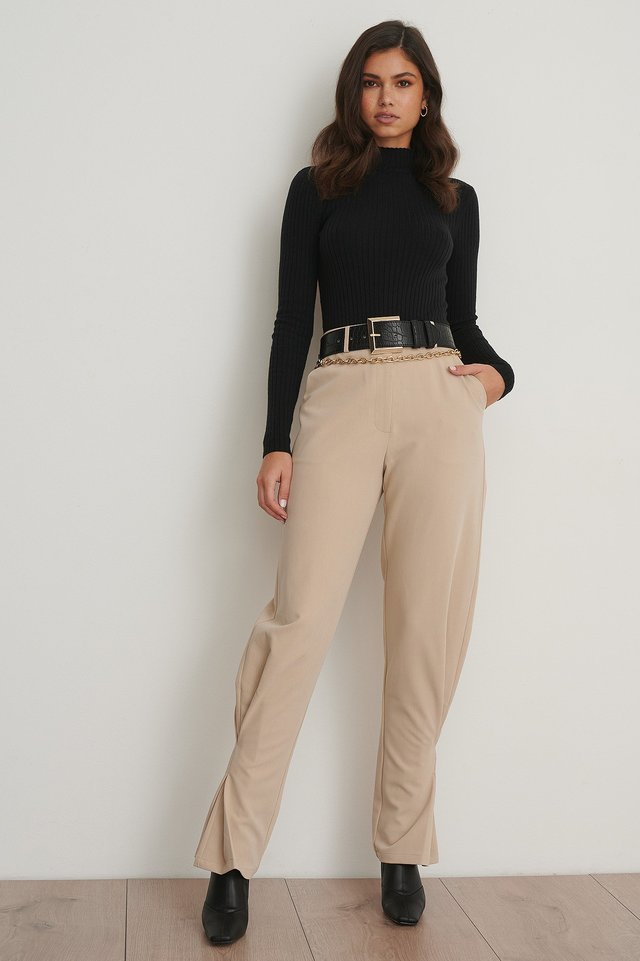 Slim Ankle Suit Pants Beige