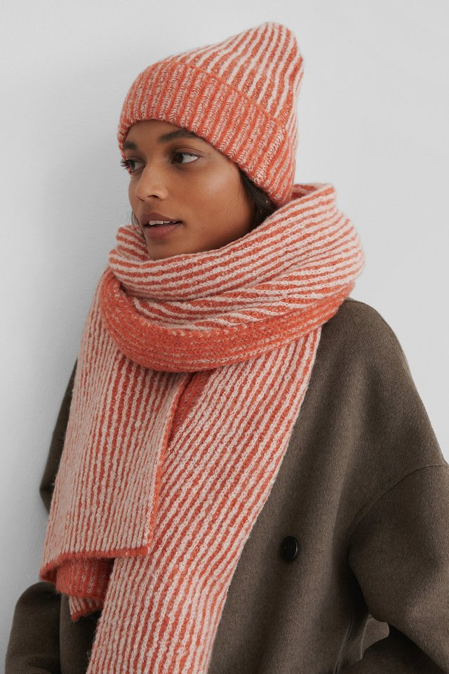 Orange Chunky Two Toned Scarf