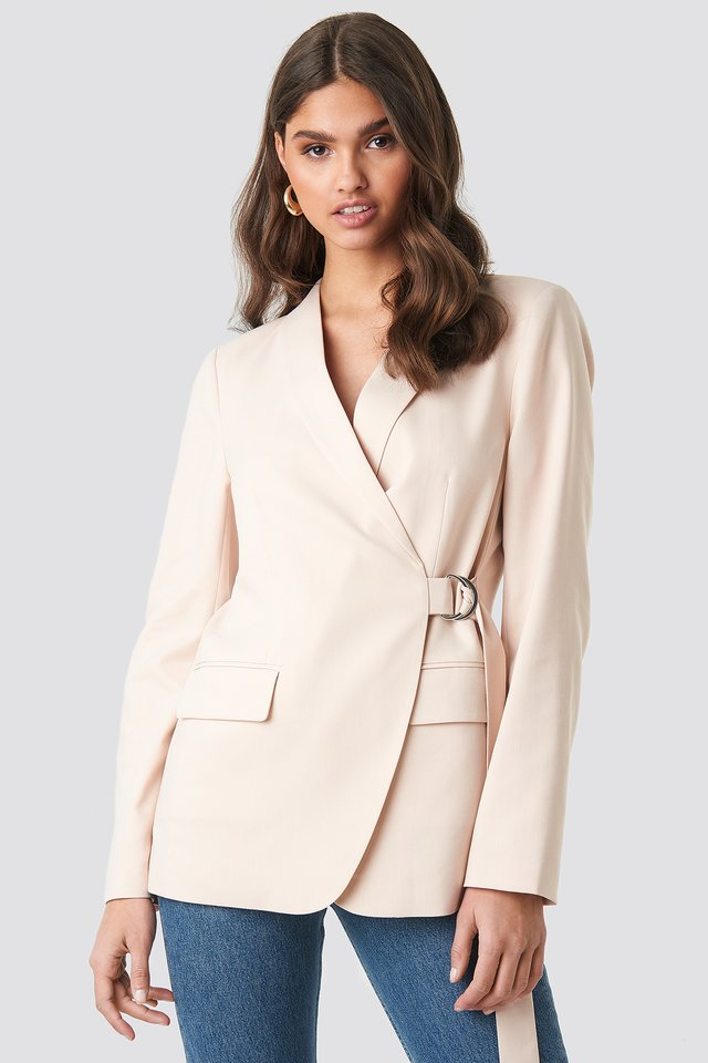 Asymmetric D-ring Belted Blazer Cream