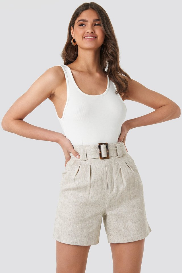 Linen Blend Belted Shorts Light Beige