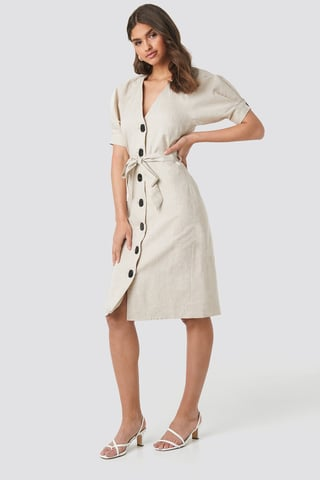Beige Melange Linen Blend Buttoned Dress
