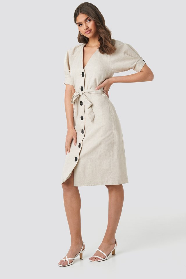 Linen Blend Buttoned Dress Beige Melange