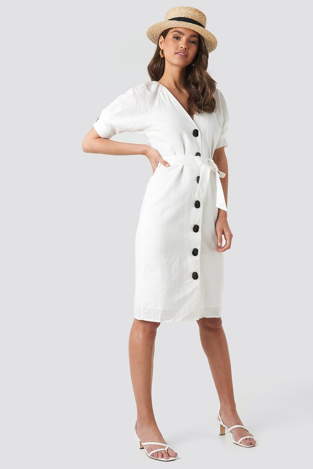 Linen Blend Buttoned Dress White
