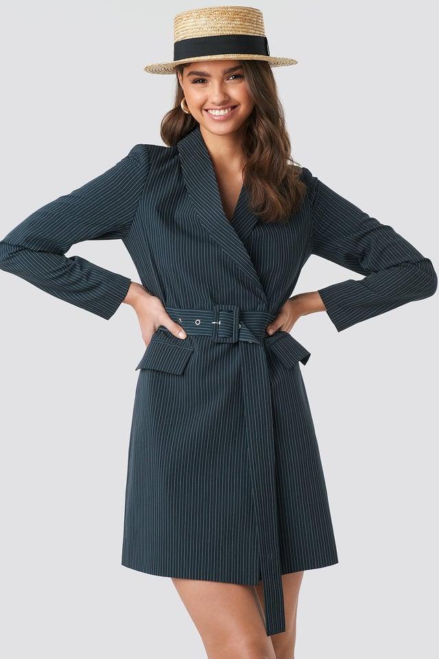 Pinstriped Belted Blazer Dress DK Navy