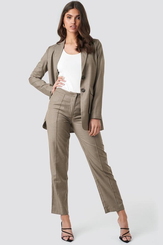 Dark Sand Pintuck Detail Suit Pants