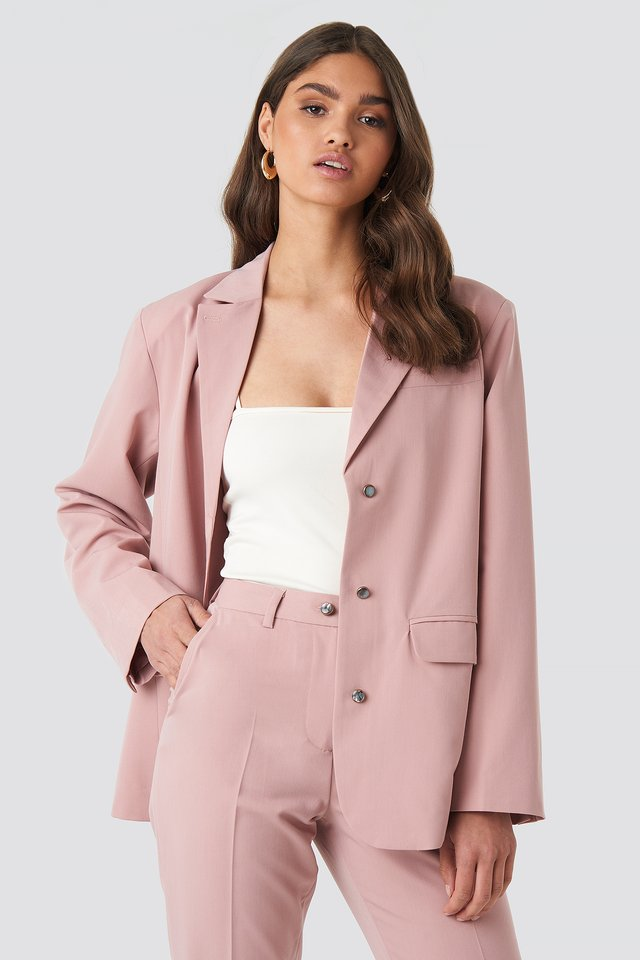 Shiny Button Blazer Dusty Dark Pink