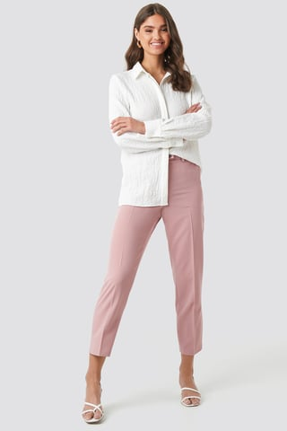 Dusty Dark Pink Shiny Button Suit Pants