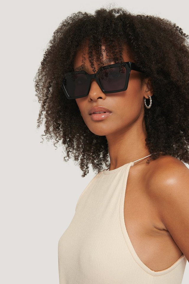 Sonnenbrille Mit Eckigem Rahmen Black