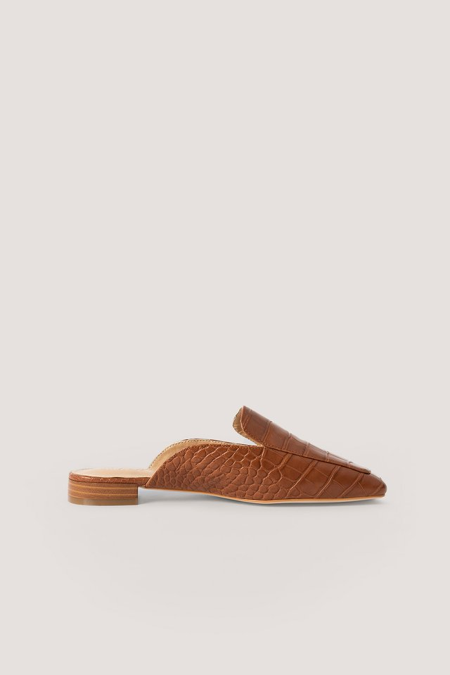Cognac Croc Slip In Loafers