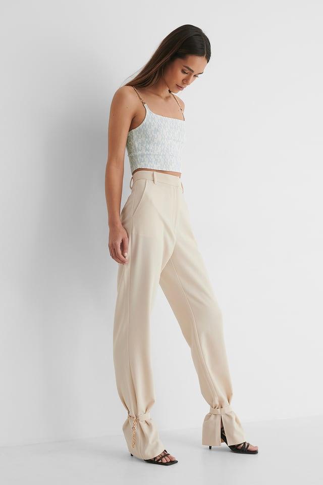 Beige Chain Detail Suit Pants