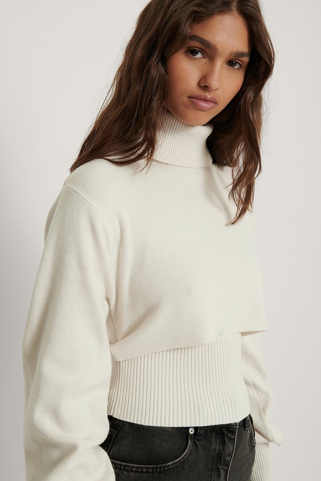 Cropped Rib Knitted Top Off White