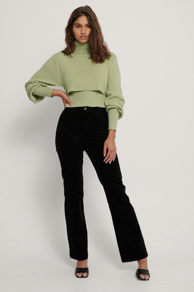 Cropped Rib Knitted Top Pistachio