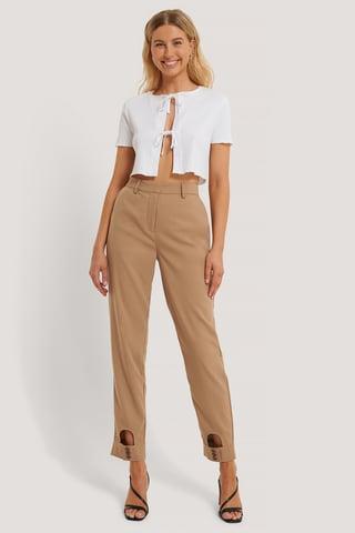 Brown Pantalones De Vestir Con Detalle Cut-Out