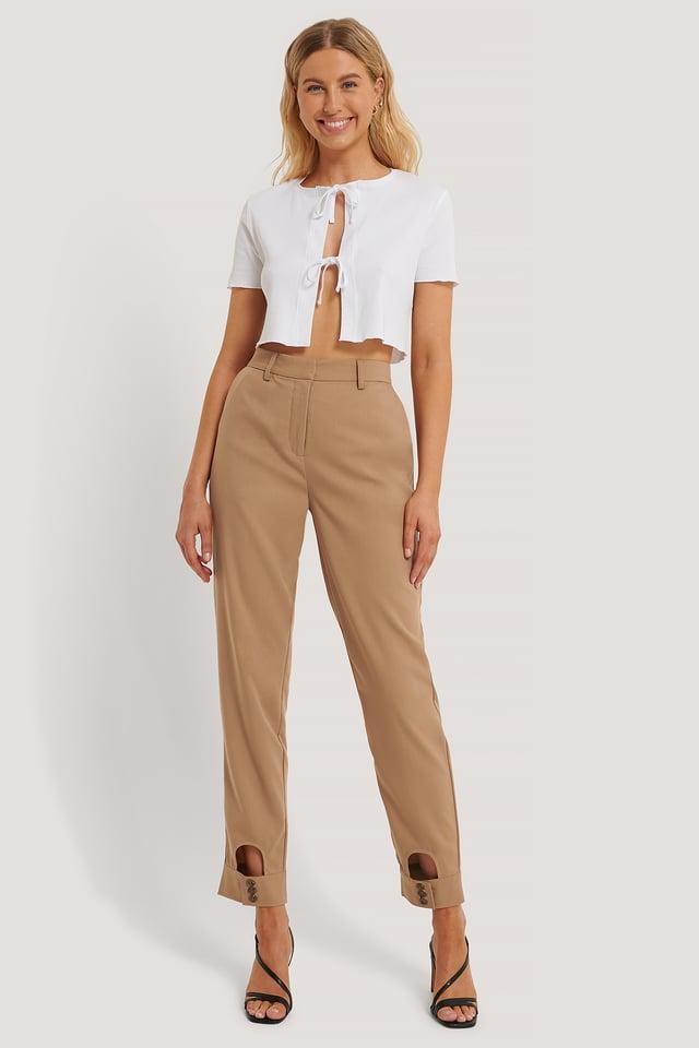 Pantalones De Vestir Con Detalle Cut-Out Brown