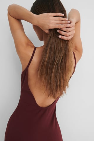 Burgundy Deep Back Jersey Dress