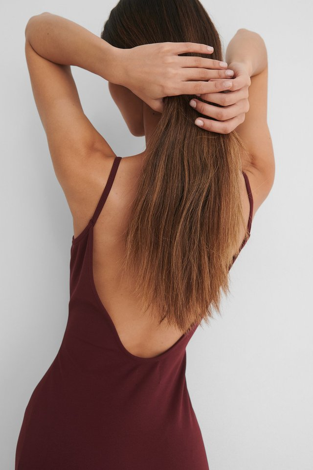 Burgundy Deep Back Jersey Dress