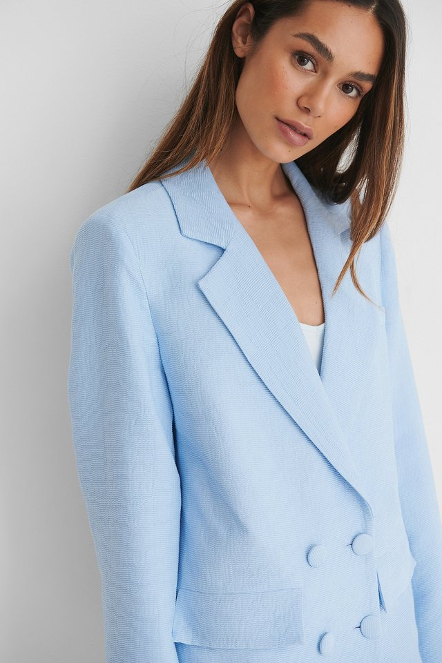 Double Button Long Blazer Light Blue