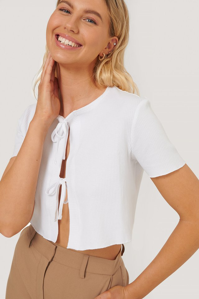 Front Tied Top White